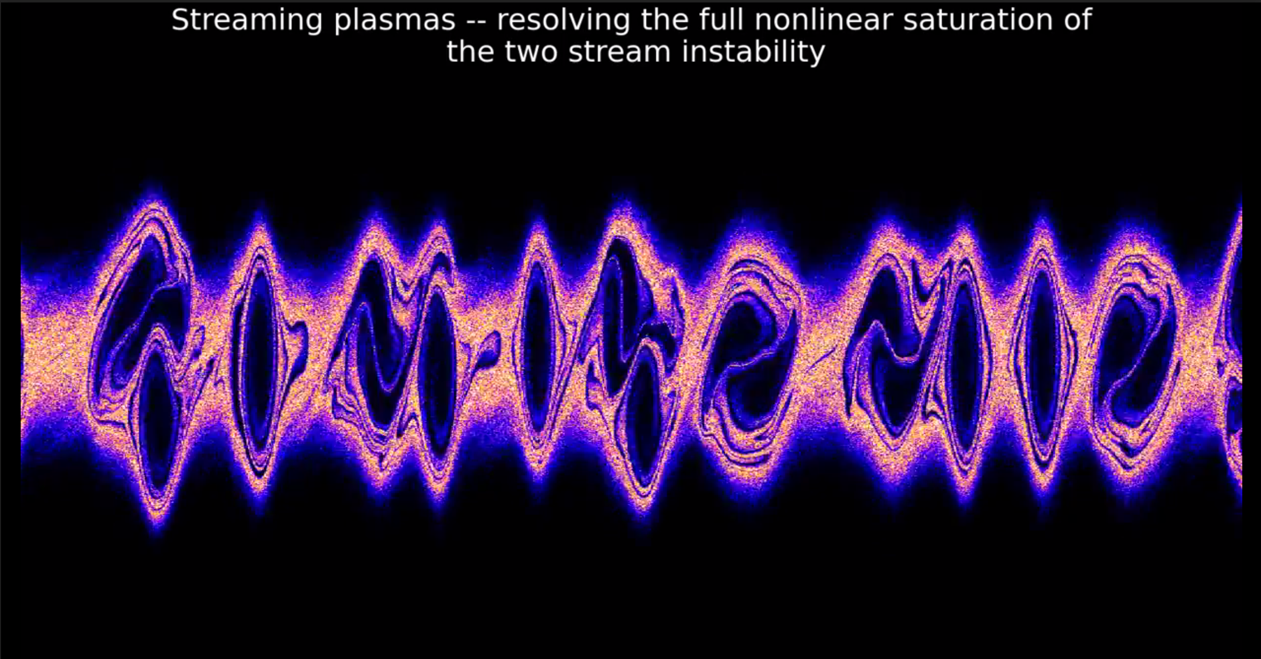 Particle-in-cell simulation of a counter streaming plasma that fully   resolves the nonlinear saturation of the two stream instability (Shalaby et   al. 2017).