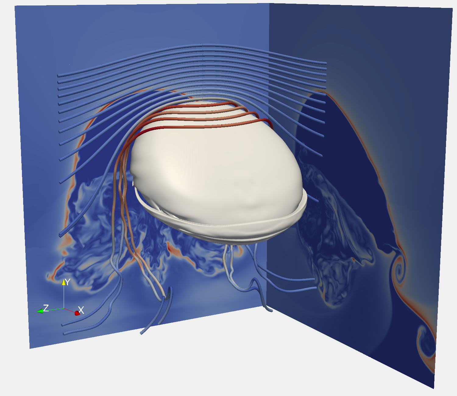 Magnetic draping in a high-resolution magneto-hydrodynamiocs   simulation. As the galaxy moves upwards through a weakly magnetized medium a   sheath of strong magnetic field is draped around it (Pfrommer & Dursi 2010).
